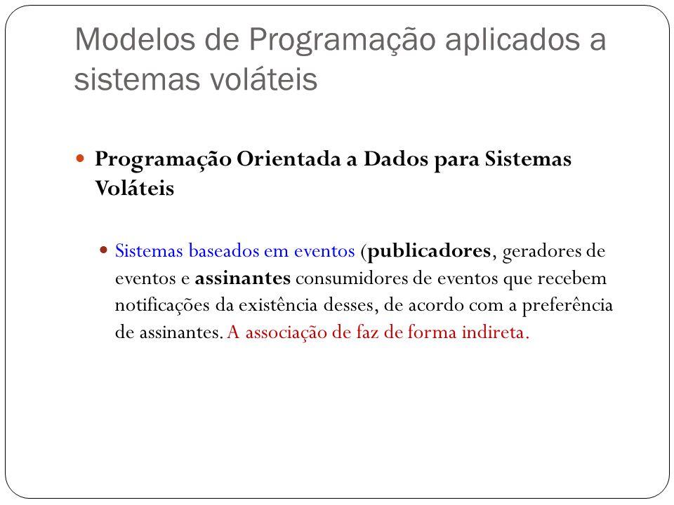 Modelos de Programação aplicados a sistemas voláteis Programação Orientada a Dados para Sistemas Voláteis Sistemas baseados em eventos (publicadores,