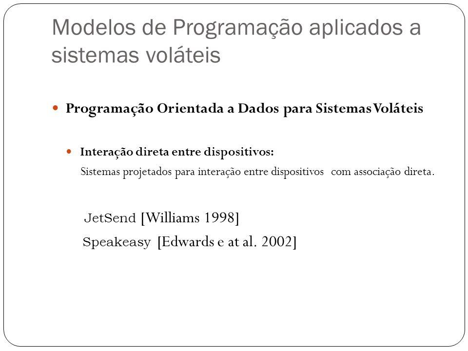 Modelos de Programação aplicados a sistemas voláteis Programação Orientada a Dados para Sistemas Voláteis Interação direta entre dispositivos: Sistema
