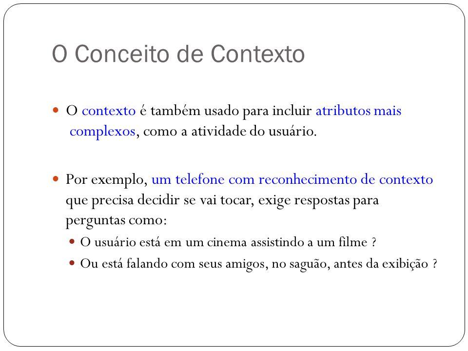 O Conceito de Contexto O contexto é também usado para incluir atributos mais complexos, como a atividade do usuário. Por exemplo, um telefone com reco