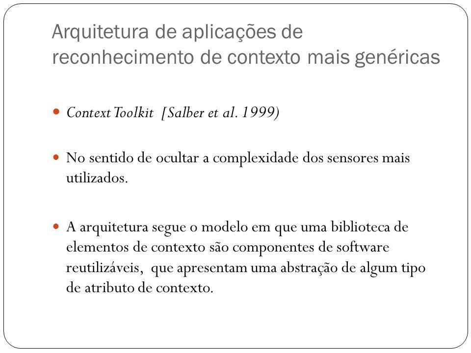 Arquitetura de aplicações de reconhecimento de contexto mais genéricas Context Toolkit [Salber et al. 1999) No sentido de ocultar a complexidade dos s