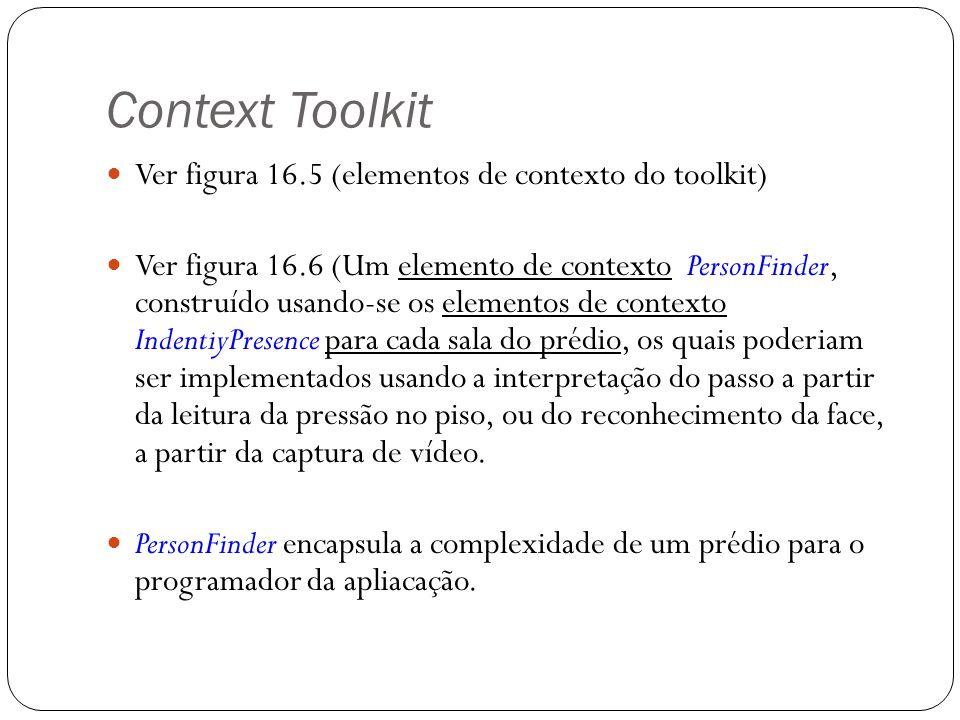 Context Toolkit Ver figura 16.5 (elementos de contexto do toolkit) Ver figura 16.6 (Um elemento de contexto PersonFinder, construído usando-se os elem