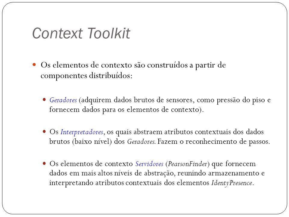 Context Toolkit Os elementos de contexto são construídos a partir de componentes distribuídos: Geradores (adquirem dados brutos de sensores, como pres