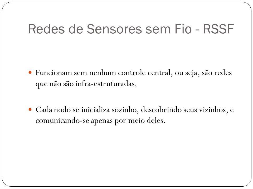 Redes de Sensores sem Fio - RSSF Funcionam sem nenhum controle central, ou seja, são redes que não são infra-estruturadas. Cada nodo se inicializa soz