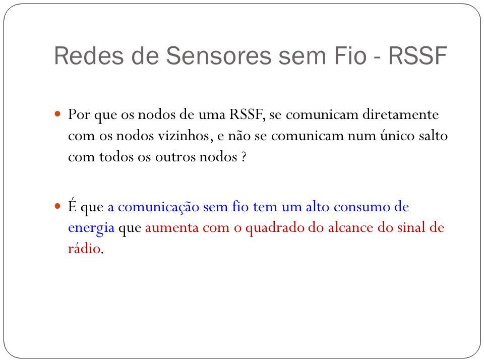 Redes de Sensores sem Fio - RSSF Por que os nodos de uma RSSF, se comunicam diretamente com os nodos vizinhos, e não se comunicam num único salto com