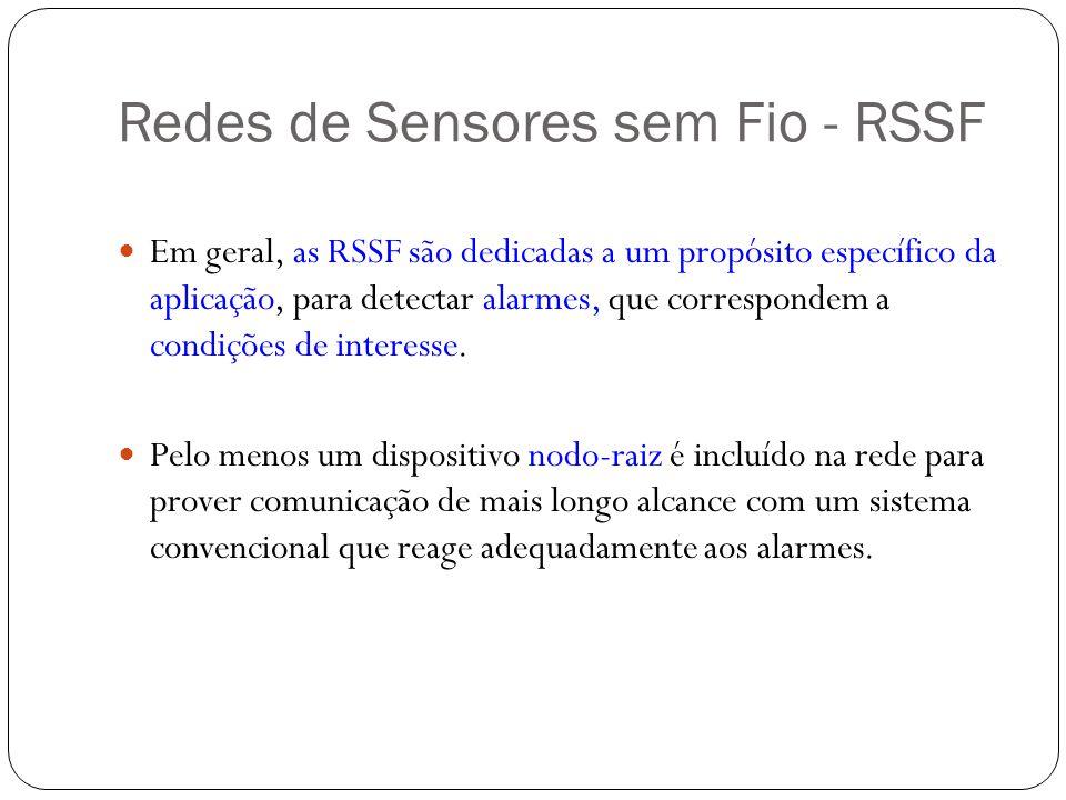 Redes de Sensores sem Fio - RSSF Em geral, as RSSF são dedicadas a um propósito específico da aplicação, para detectar alarmes, que correspondem a con