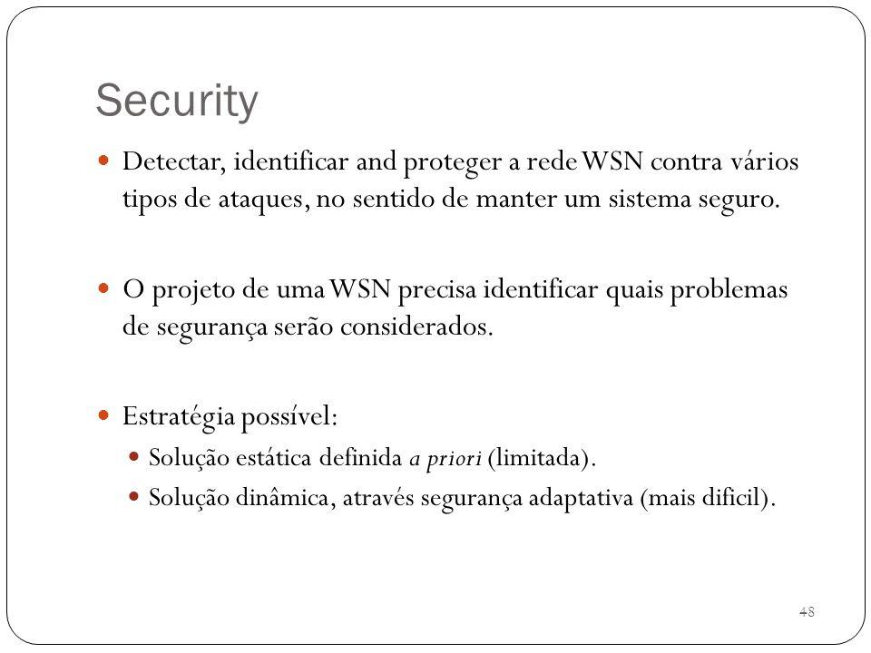 48 Security Detectar, identificar and proteger a rede WSN contra vários tipos de ataques, no sentido de manter um sistema seguro. O projeto de uma WSN