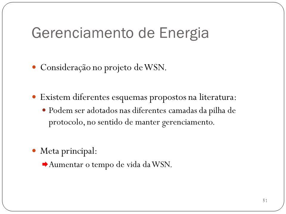 51 Gerenciamento de Energia Consideração no projeto de WSN. Existem diferentes esquemas propostos na literatura: Podem ser adotados nas diferentes cam
