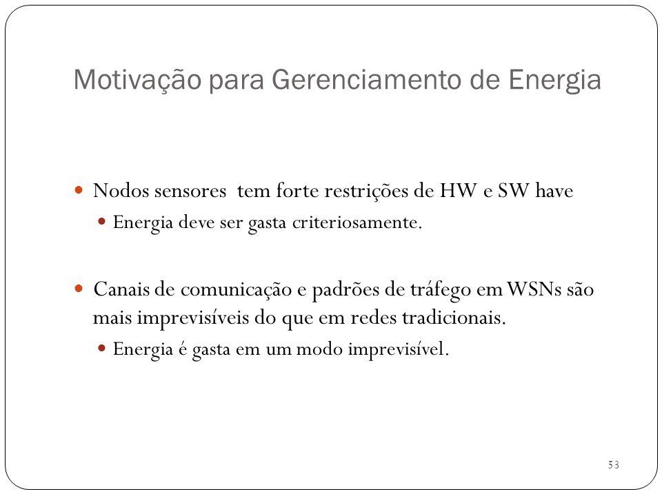 53 Motivação para Gerenciamento de Energia Nodos sensores tem forte restrições de HW e SW have Energia deve ser gasta criteriosamente. Canais de comun