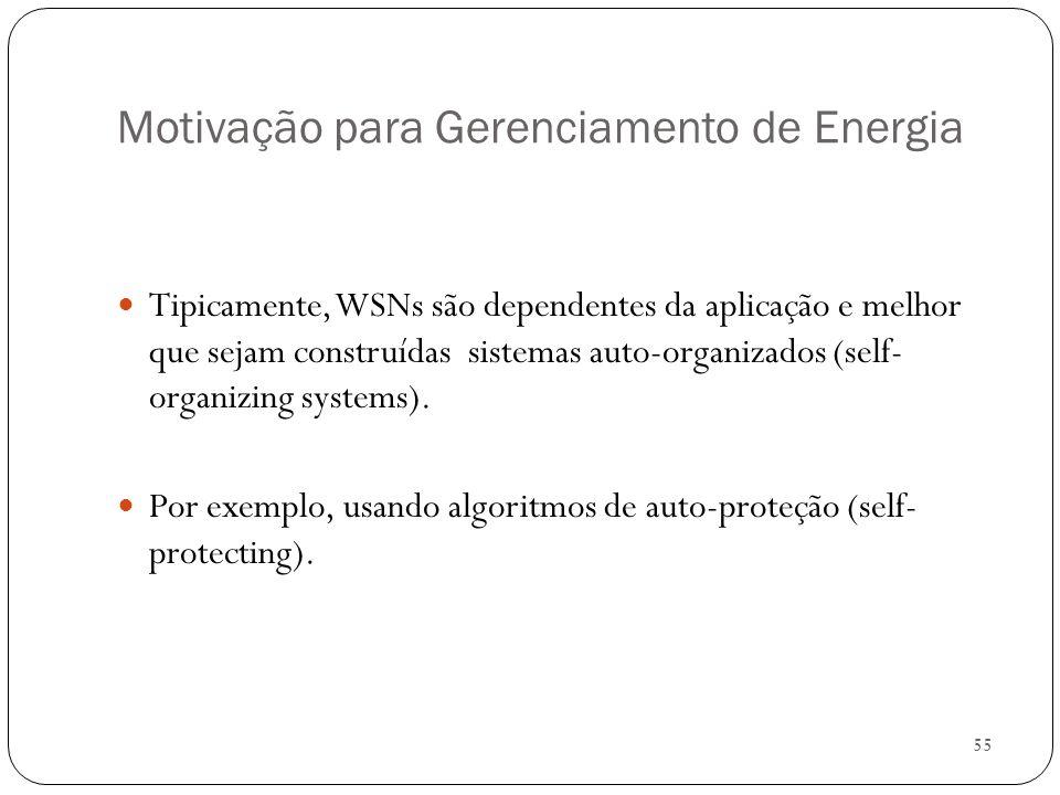 55 Motivação para Gerenciamento de Energia Tipicamente, WSNs são dependentes da aplicação e melhor que sejam construídas sistemas auto-organizados (se