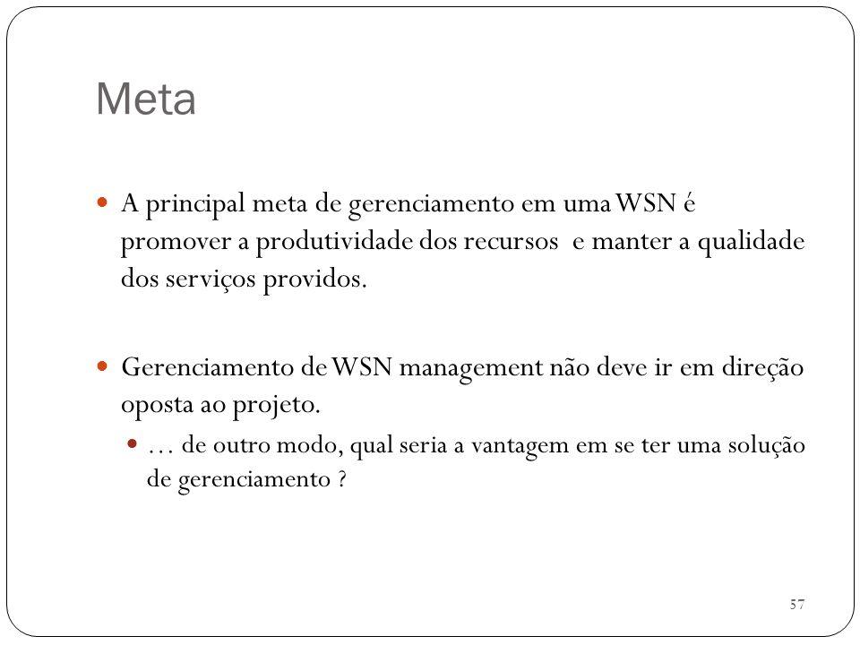 57 Meta A principal meta de gerenciamento em uma WSN é promover a produtividade dos recursos e manter a qualidade dos serviços providos. Gerenciamento