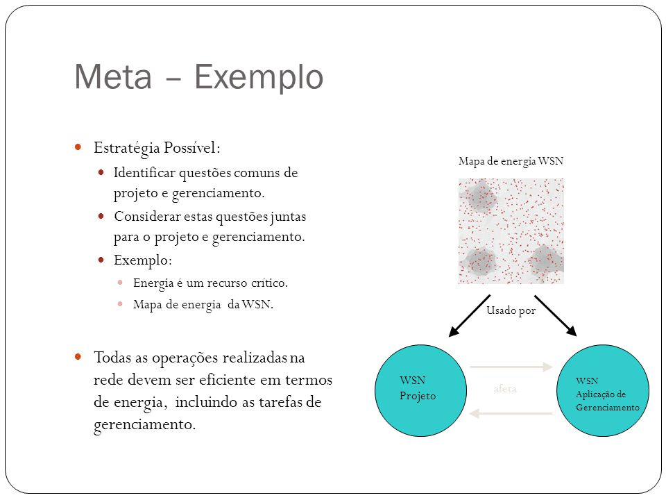 Meta – Exemplo Estratégia Possível: Identificar questões comuns de projeto e gerenciamento. Considerar estas questões juntas para o projeto e gerencia