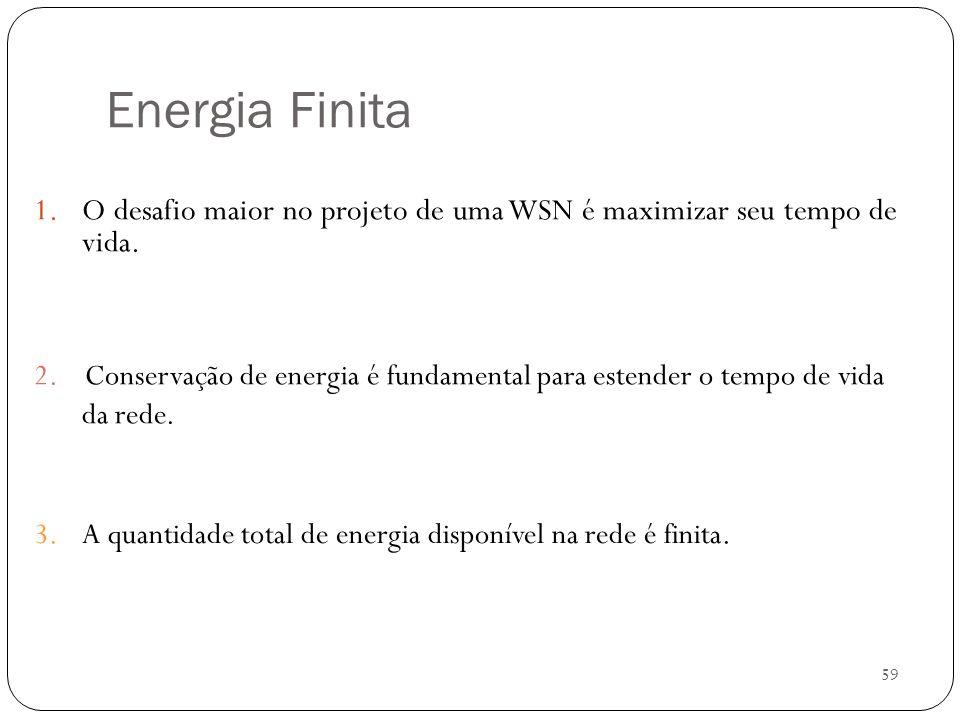 59 Energia Finita 1.O desafio maior no projeto de uma WSN é maximizar seu tempo de vida. 2. Conservação de energia é fundamental para estender o tempo