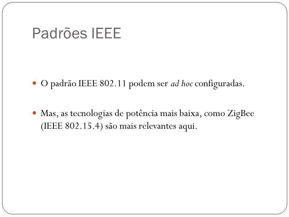 Padrões IEEE O padrão IEEE 802.11 podem ser ad hoc configuradas. Mas, as tecnologias de potência mais baixa, como ZigBee (IEEE 802.15.4) são mais rele