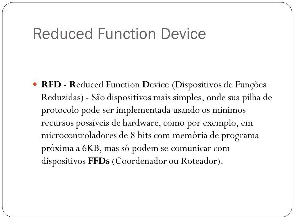 Reduced Function Device RFD - Reduced Function Device (Dispositivos de Funções Reduzidas) - São dispositivos mais simples, onde sua pilha de protocolo