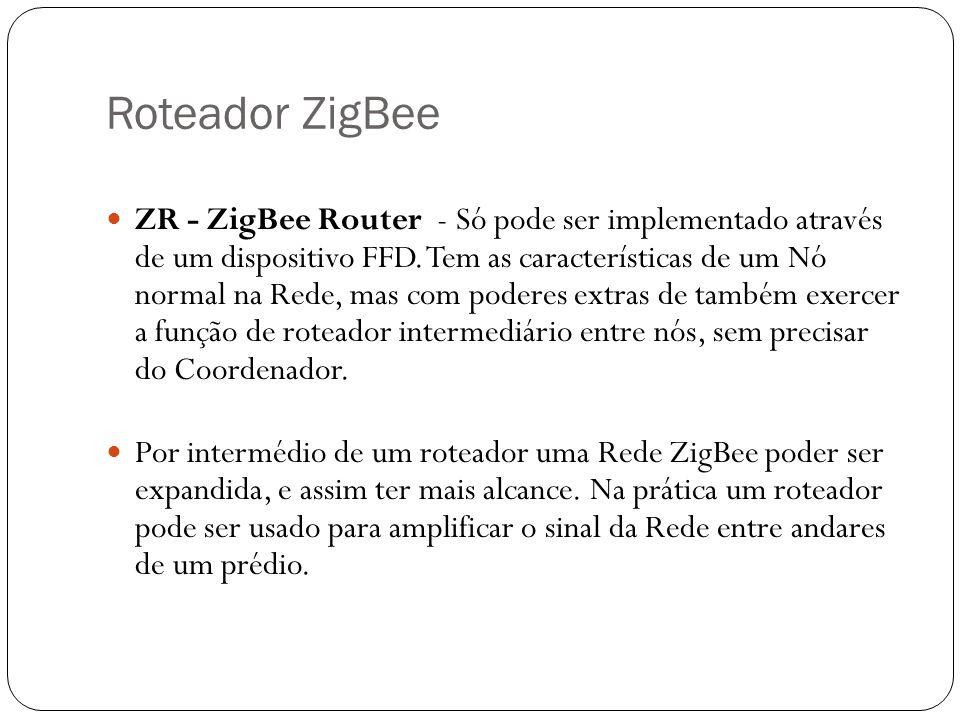 Roteador ZigBee ZR - ZigBee Router - Só pode ser implementado através de um dispositivo FFD. Tem as características de um Nó normal na Rede, mas com p