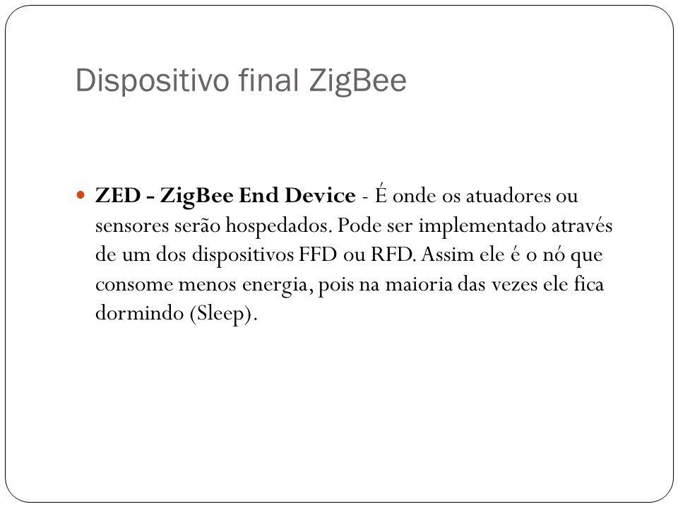 Dispositivo final ZigBee ZED - ZigBee End Device - É onde os atuadores ou sensores serão hospedados. Pode ser implementado através de um dos dispositi