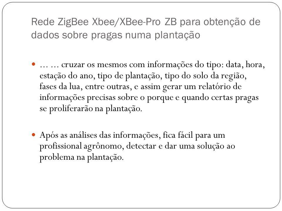 Rede ZigBee Xbee/XBee-Pro ZB para obtenção de dados sobre pragas numa plantação...... cruzar os mesmos com informações do tipo: data, hora, estação do