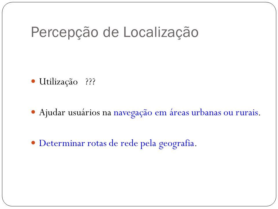 Percepção de Localização Utilização ??? Ajudar usuários na navegação em áreas urbanas ou rurais. Determinar rotas de rede pela geografia.