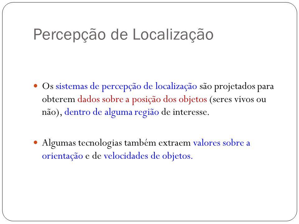 Percepção de Localização Os sistemas de percepção de localização são projetados para obterem dados sobre a posição dos objetos (seres vivos ou não), d