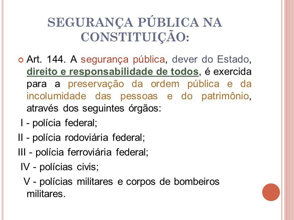 SEGURANÇA PÚBLICA NA CONSTITUIÇÃO: Art. 144. A segurança pública, dever do Estado, direito e responsabilidade de todos, é exercida para a preservação