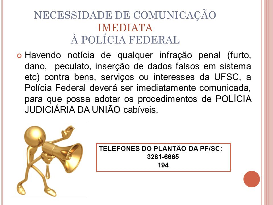 NECESSIDADE DE COMUNICAÇÃO IMEDIATA À POLÍCIA FEDERAL Havendo notícia de qualquer infração penal (furto, dano, peculato, inserção de dados falsos em s