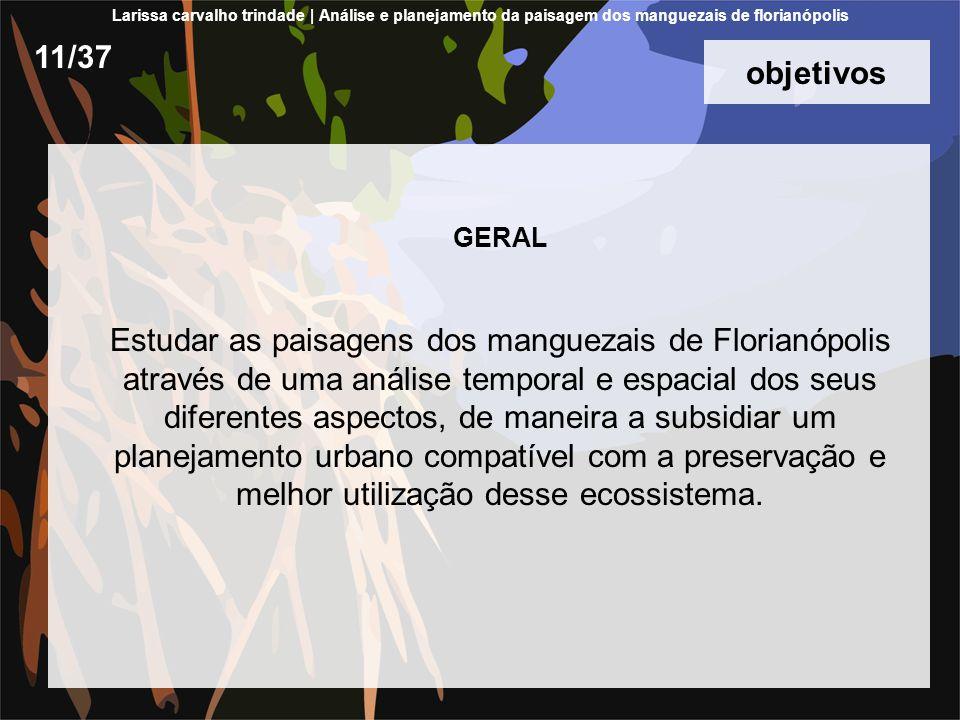 objetivos GERAL Estudar as paisagens dos manguezais de Florianópolis através de uma análise temporal e espacial dos seus diferentes aspectos, de maneira a subsidiar um planejamento urbano compatível com a preservação e melhor utilização desse ecossistema.