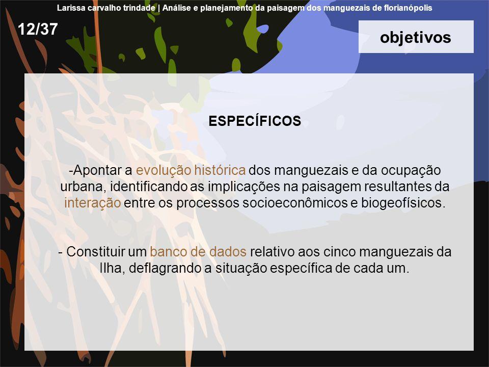 objetivos ESPECÍFICOS -Apontar a evolução histórica dos manguezais e da ocupação urbana, identificando as implicações na paisagem resultantes da interação entre os processos socioeconômicos e biogeofísicos.