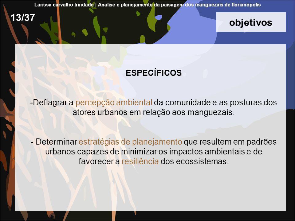 objetivos ESPECÍFICOS -Deflagrar a percepção ambiental da comunidade e as posturas dos atores urbanos em relação aos manguezais.