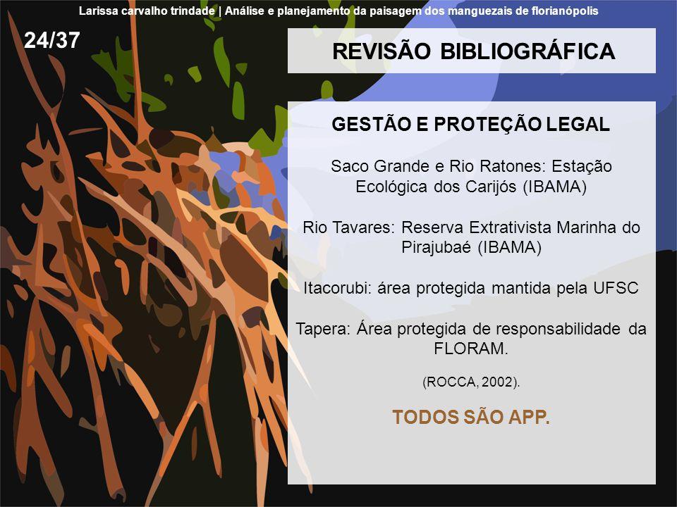 REVISÃO BIBLIOGRÁFICA GESTÃO E PROTEÇÃO LEGAL Saco Grande e Rio Ratones: Estação Ecológica dos Carijós (IBAMA) Rio Tavares: Reserva Extrativista Marin