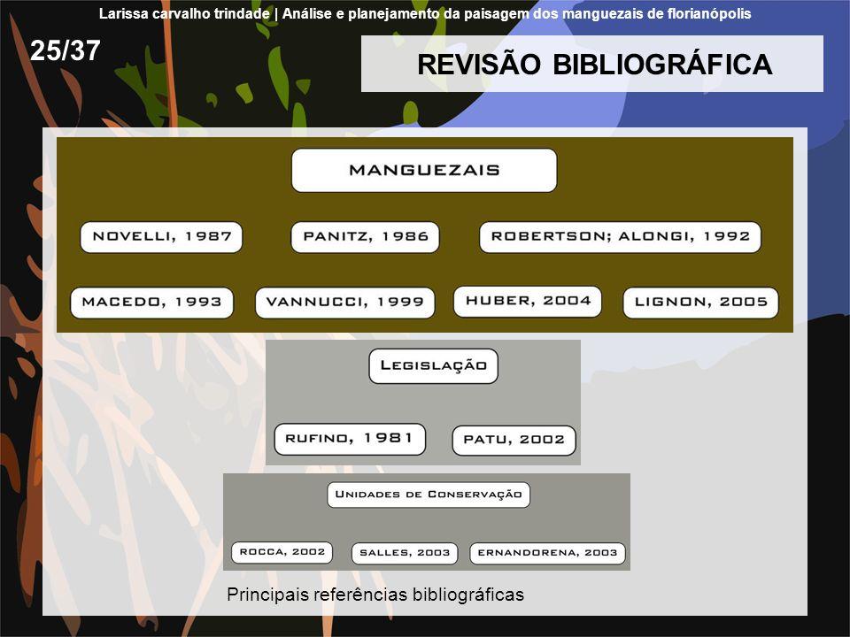 REVISÃO BIBLIOGRÁFICA 25/37 Principais referências bibliográficas Larissa carvalho trindade | Análise e planejamento da paisagem dos manguezais de flo