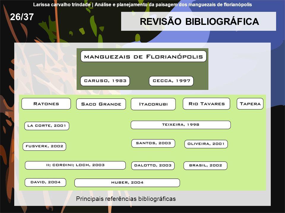 REVISÃO BIBLIOGRÁFICA 26/37 Principais referências bibliográficas Larissa carvalho trindade | Análise e planejamento da paisagem dos manguezais de florianópolis