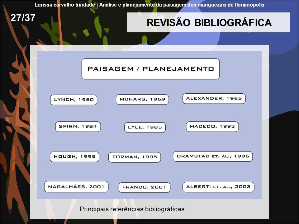 REVISÃO BIBLIOGRÁFICA 27/37 Principais referências bibliográficas Larissa carvalho trindade | Análise e planejamento da paisagem dos manguezais de flo