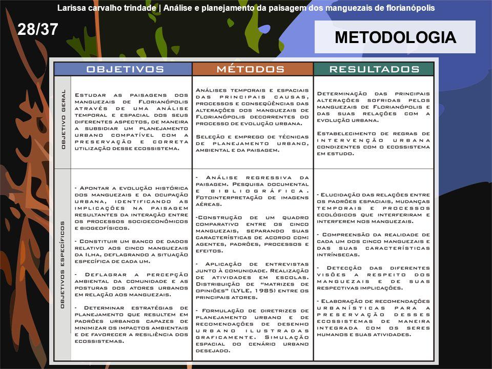 28/37 METODOLOGIA Larissa carvalho trindade | Análise e planejamento da paisagem dos manguezais de florianópolis