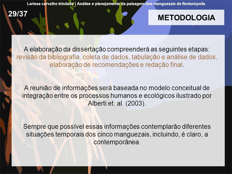 METODOLOGIA A elaboração da dissertação compreenderá as seguintes etapas: revisão da bibliografia, coleta de dados, tabulação e análise de dados, elaboração de recomendações e redação final.
