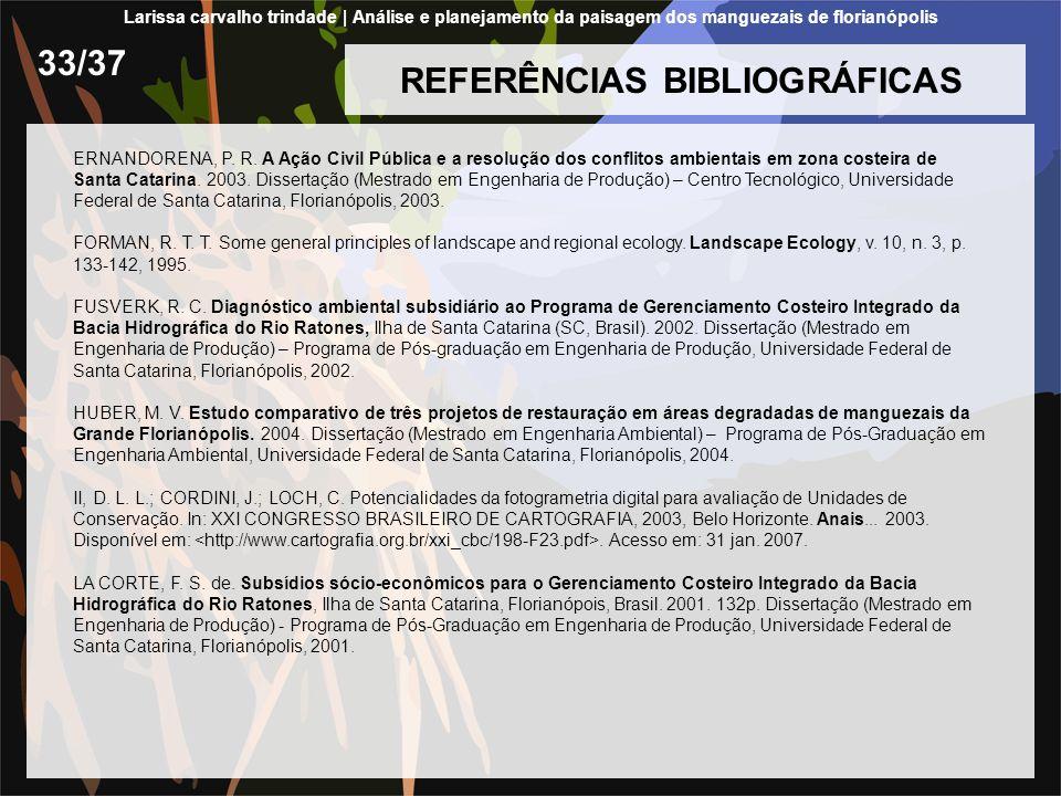 REFERÊNCIAS BIBLIOGRÁFICAS ERNANDORENA, P. R. A Ação Civil Pública e a resolução dos conflitos ambientais em zona costeira de Santa Catarina. 2003. Di