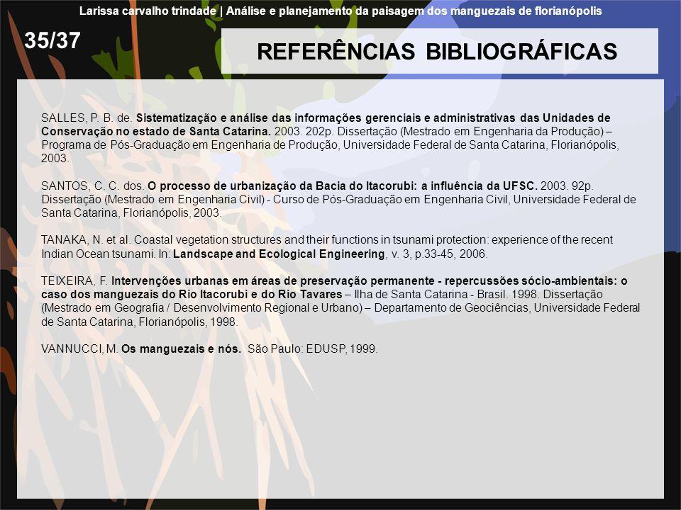 REFERÊNCIAS BIBLIOGRÁFICAS SALLES, P. B. de. Sistematização e análise das informações gerenciais e administrativas das Unidades de Conservação no esta
