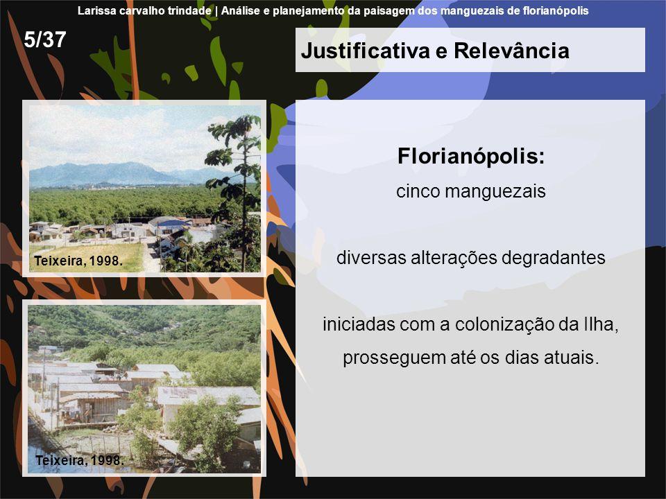 Justificativa e Relevância Florianópolis: cinco manguezais diversas alterações degradantes iniciadas com a colonização da Ilha, prosseguem até os dias
