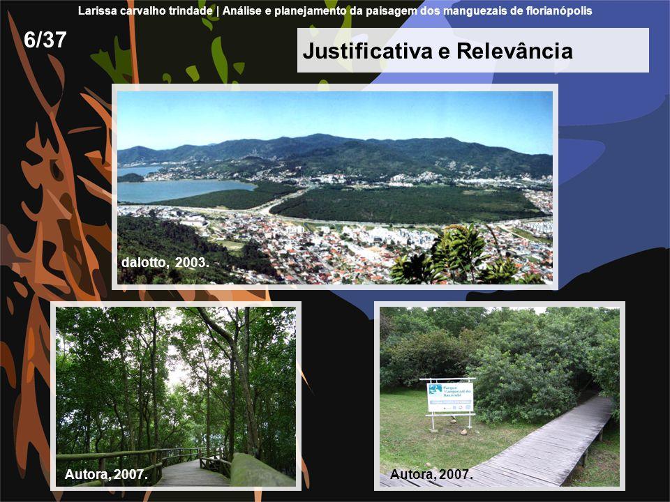 Justificativa e Relevância 6/37 Larissa carvalho trindade | Análise e planejamento da paisagem dos manguezais de florianópolis dalotto, 2003. Autora,