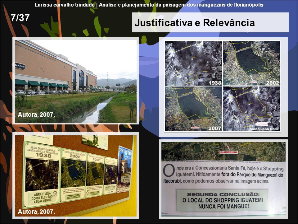 Justificativa e Relevância 7/37 Larissa carvalho trindade | Análise e planejamento da paisagem dos manguezais de florianópolis Autora, 2007.