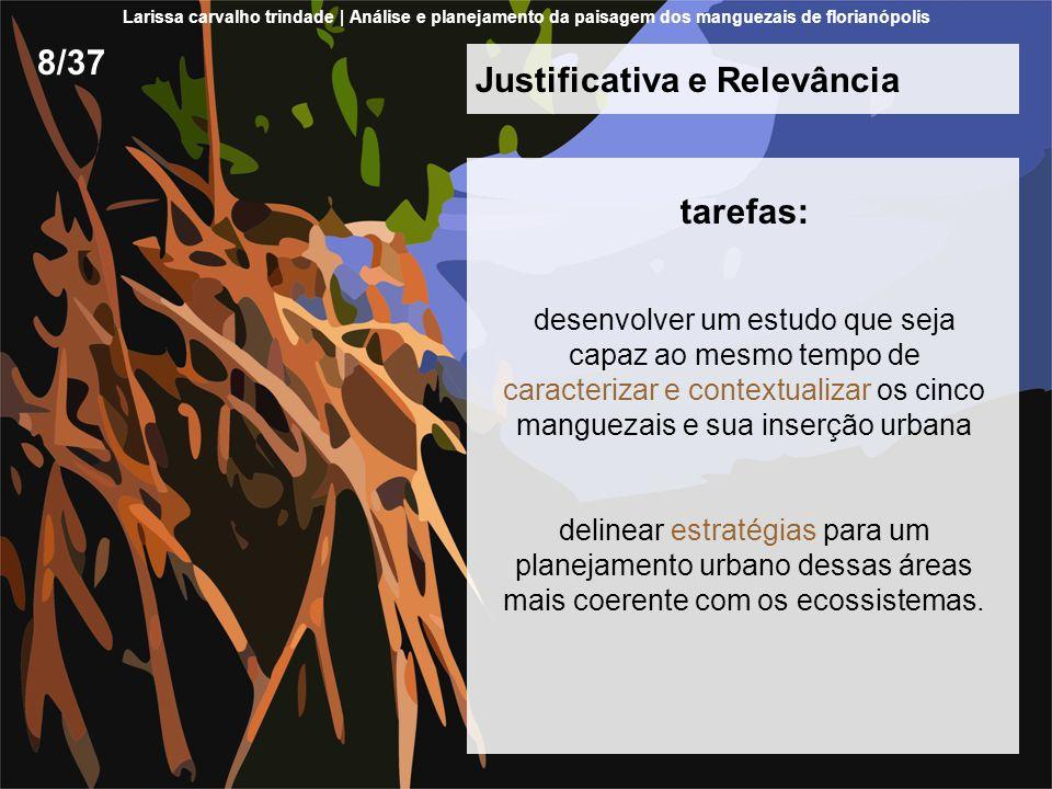 Justificativa e Relevância tarefas: desenvolver um estudo que seja capaz ao mesmo tempo de caracterizar e contextualizar os cinco manguezais e sua inserção urbana delinear estratégias para um planejamento urbano dessas áreas mais coerente com os ecossistemas.