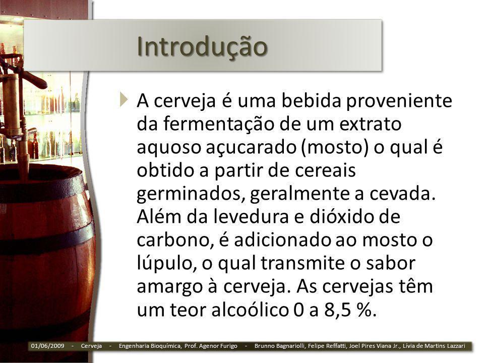 Extrato Primitivo Leve: > 5% e <10,5% Comum: > 10,5% e < 12% Extra: >12,0% e <14% Forte: > 14% 01/06/2009 - Cerveja - Engenharia Bioquímica, Prof.