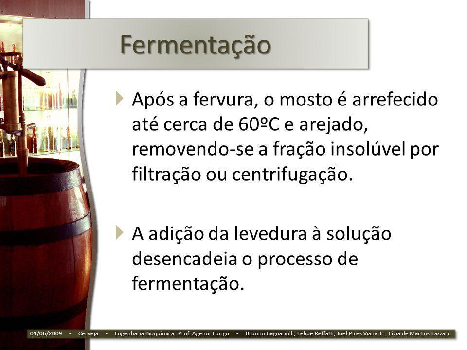 FermentaçãoFermentação Após a fervura, o mosto é arrefecido até cerca de 60ºC e arejado, removendo-se a fração insolúvel por filtração ou centrifugaçã