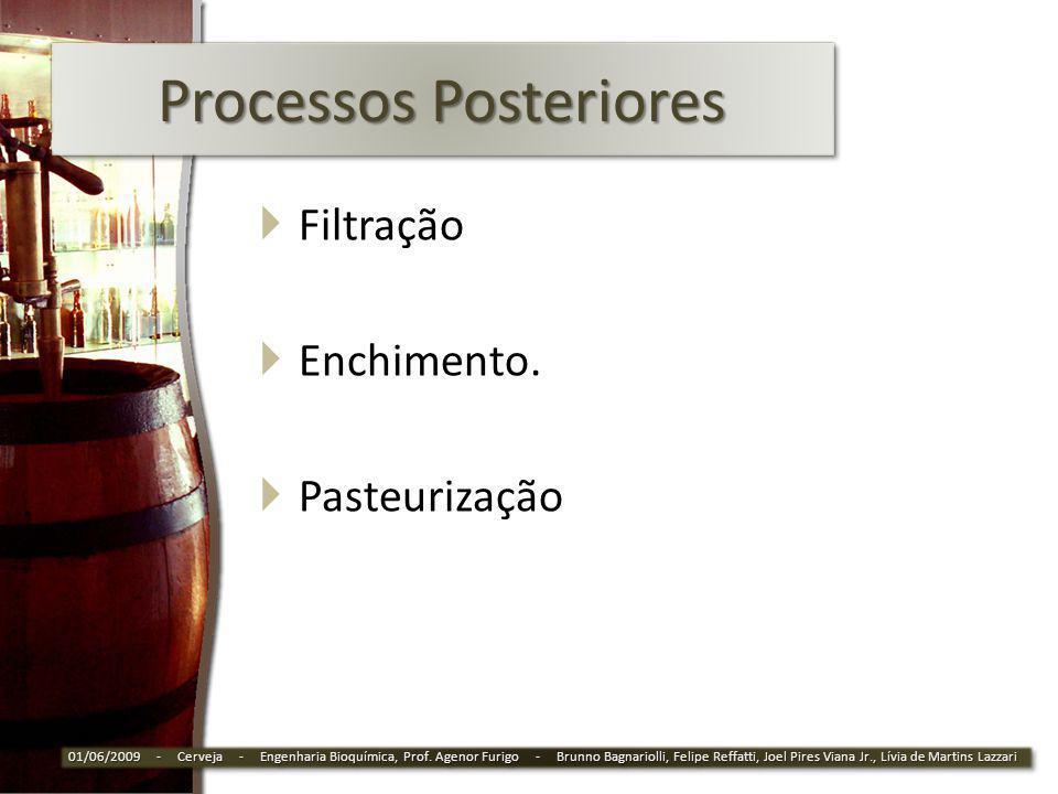Processos Posteriores Filtração Enchimento. Pasteurização 01/06/2009 - Cerveja - Engenharia Bioquímica, Prof. Agenor Furigo - Brunno Bagnariolli, Feli