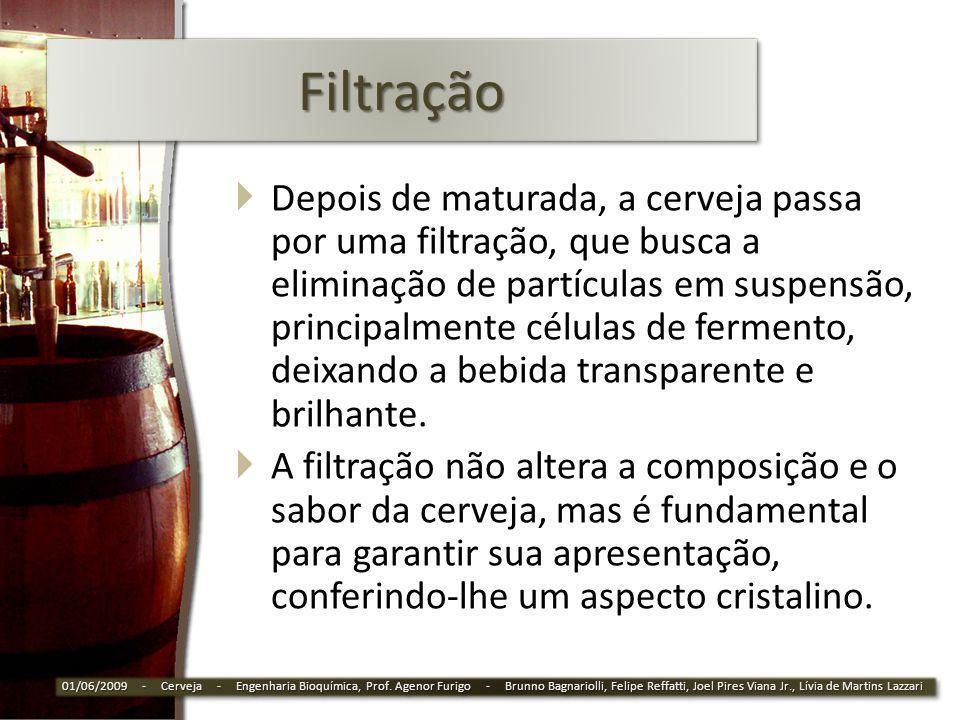 FiltraçãoFiltração Depois de maturada, a cerveja passa por uma filtração, que busca a eliminação de partículas em suspensão, principalmente células de
