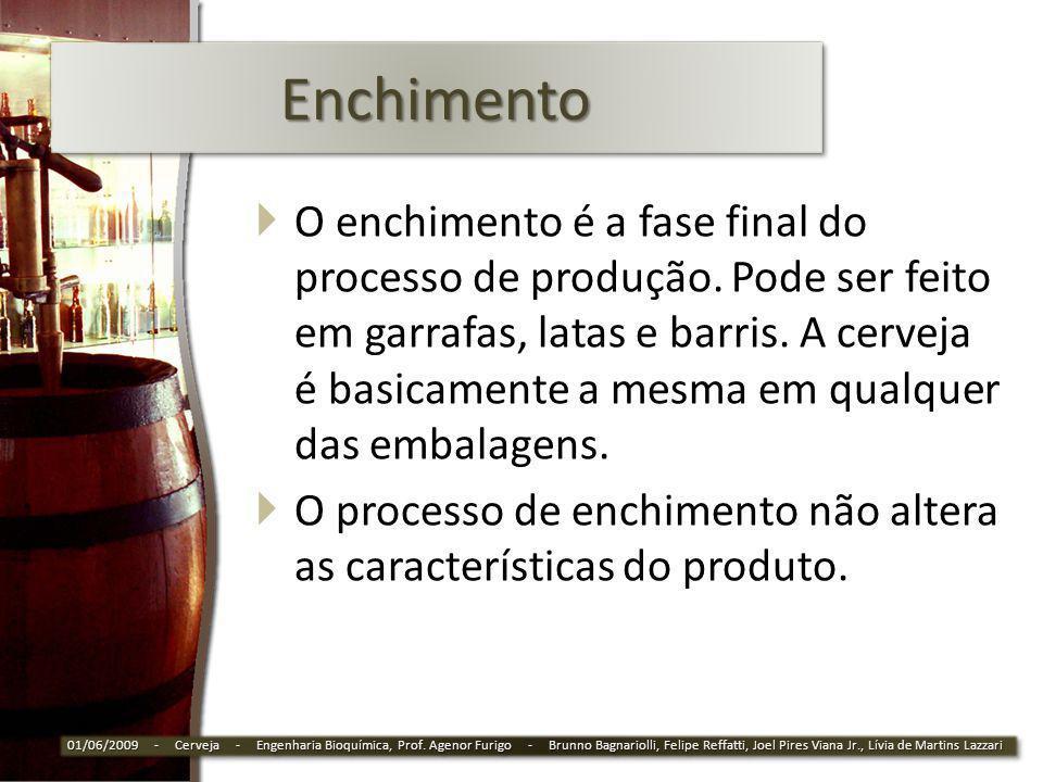 EnchimentoEnchimento O enchimento é a fase final do processo de produção. Pode ser feito em garrafas, latas e barris. A cerveja é basicamente a mesma