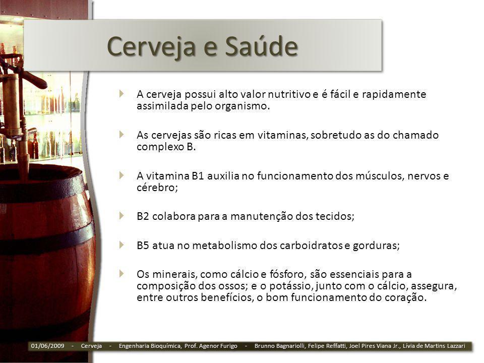 Cerveja e Saúde A cerveja possui alto valor nutritivo e é fácil e rapidamente assimilada pelo organismo. As cervejas são ricas em vitaminas, sobretudo