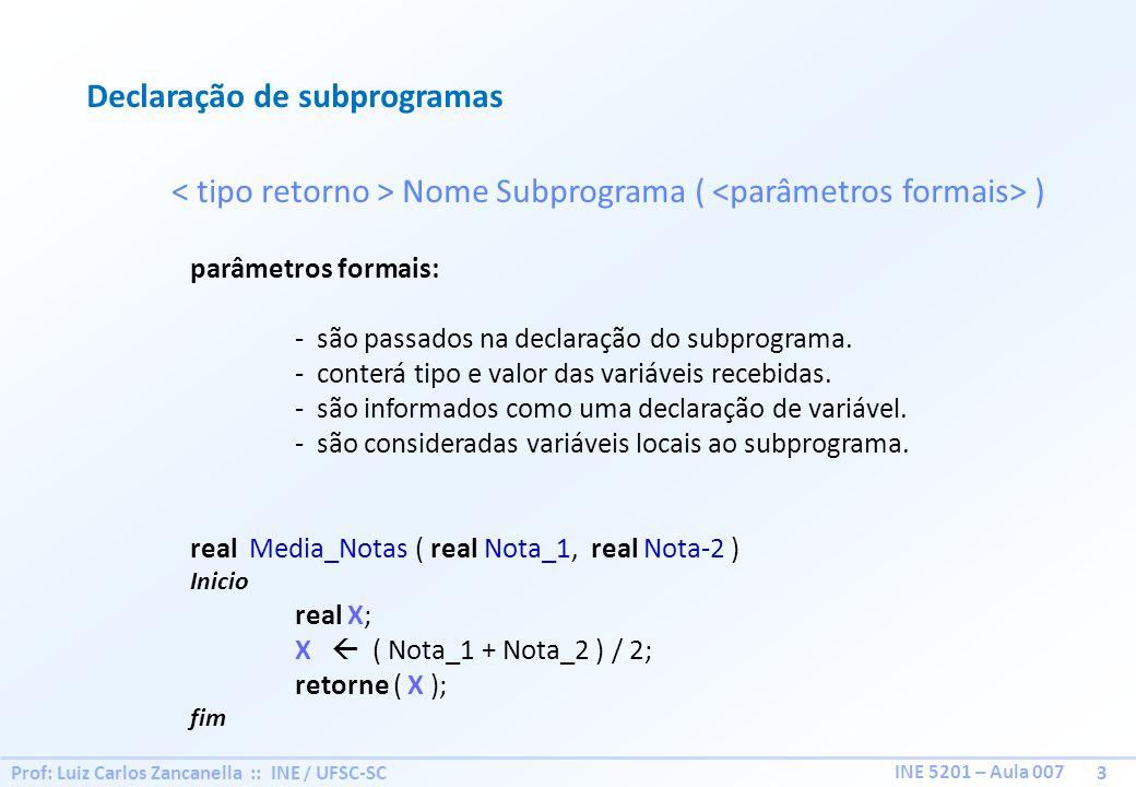 Prof: Luiz Carlos Zancanella :: INE / UFSC-SC 3 INE 5201 – Aula 007 Declaração de subprogramas Nome Subprograma ( ) parâmetros formais: - são passados
