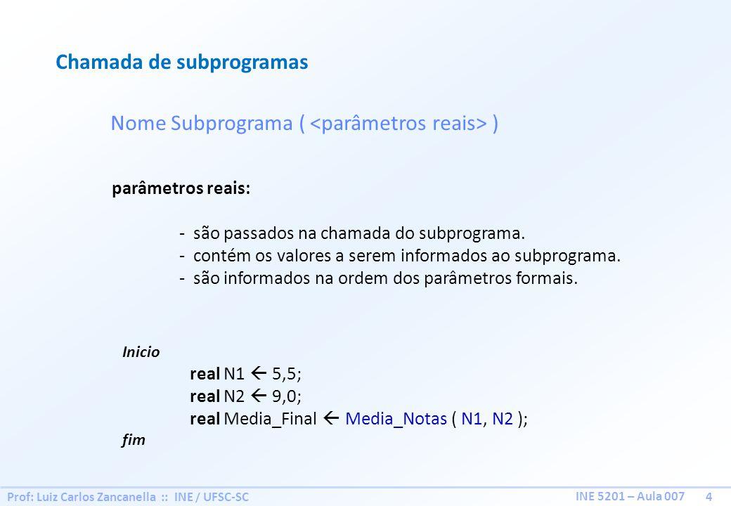 Prof: Luiz Carlos Zancanella :: INE / UFSC-SC 4 INE 5201 – Aula 007 Inicio real N1 5,5; real N2 9,0; real Media_Final Media_Notas ( N1, N2 ); fim Cham