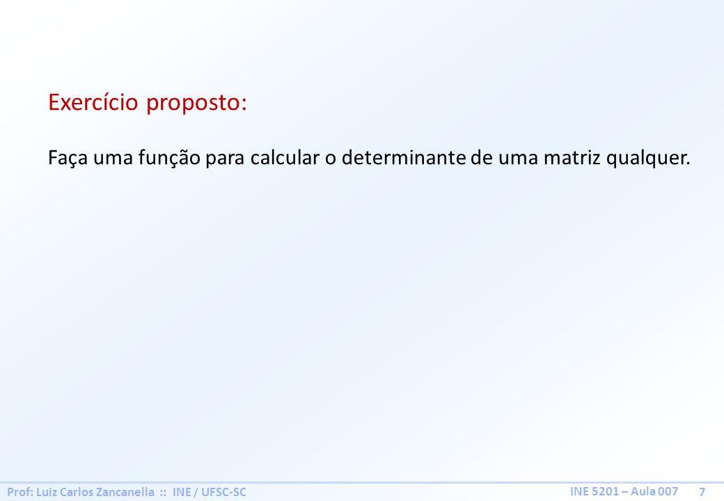 Prof: Luiz Carlos Zancanella :: INE / UFSC-SC 7 INE 5201 – Aula 007 Exercício proposto: Faça uma função para calcular o determinante de uma matriz qua