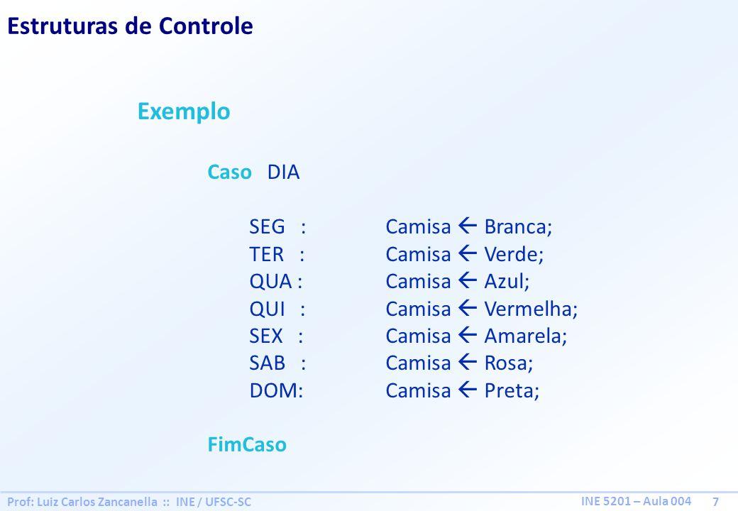 Prof: Luiz Carlos Zancanella :: INE / UFSC-SC 8 INE 5201 – Aula 004 Estruturas de Controle Repetição 1º Caso de uso, quando o número de repetições NÃO É conhecida repita Bloco de Ações; enquanto enquanto faça Bloco de Ações; fimenquanto